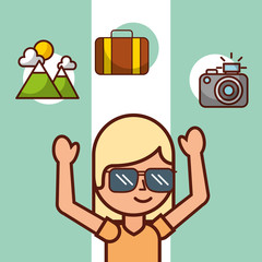 time to travel girl tourist suitcase mountain camera vector illustration
