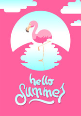 "Summer vector illustration with flamingo and hand-drawing message ""hello summer"""