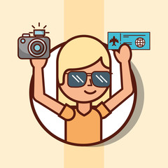 time to travel girl tourist portrait with ticket and camera vector illustration