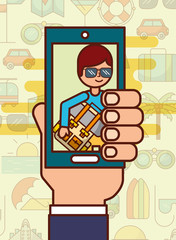 hand holding smartphone photo man with backpack travel vector illustration