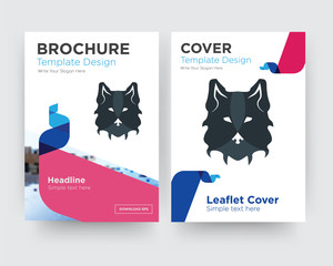wolf face brochure flyer design template