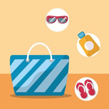summer time beach bag flip flops sunglasses vector illustration