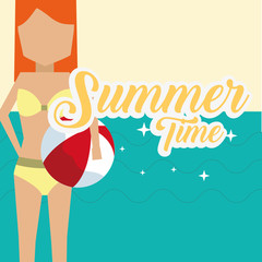 summer time cartoon woman with beach ball travel leisure poster vector illustration
