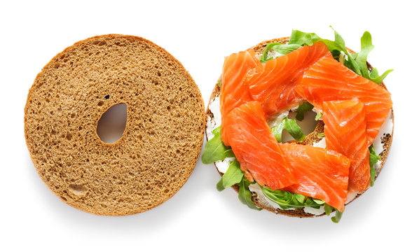 opened bagel sandwich isolated on white background