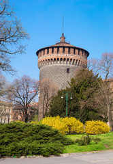 Tower of ancient italian fortress in Milan