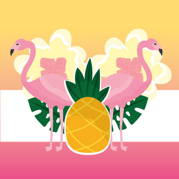 summer time pink couple flamingo and tropical pineapple vector illustration