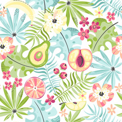 Seamless pattern with fruits and flowers