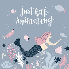Background with mermaid and handwritten quote
