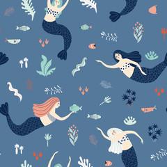 Marine seamless pattern with mermaids