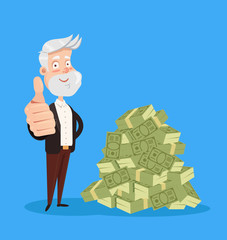 Happy smiling old man grandfather character standing near big pile heap of money dollars currency. Good pension retirement service savings. Vector flat cartoon isolated graphic design illustration
