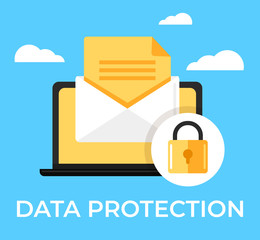 Laptop with envelop online email text under protection red shield lock. Data protection secure privacy information access icon concept. Vector flat cartoon isolated graphic design illustration