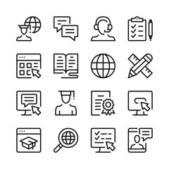 E-learning line icons set. Modern graphic design concepts, simple outline elements collection. Vector line icons
