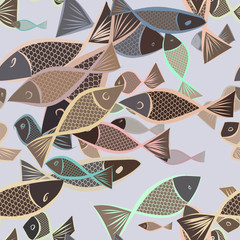 Seamless abstract fish illustrations background. Style, creative, pattern & repeat.