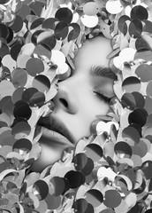 Wall Mural - Sensual beautiful womans face among stock of shiny fashion sequins