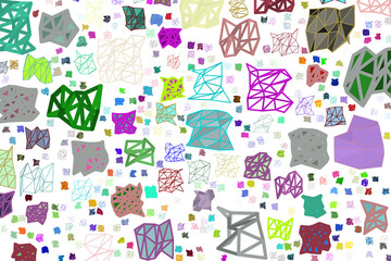 Conceptual geometrical background, for web page, graphic design, catalog or texture. Color, illustration, wallpaper & vector.