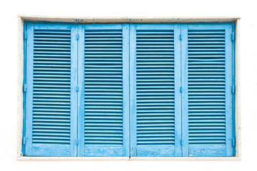 Leuca, Apulia - A traditonal blue closed lamella window