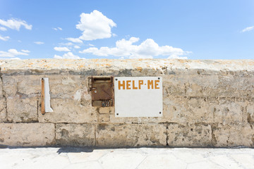 Gallipoli, Apulia - A dead old letter box at the historical town wall