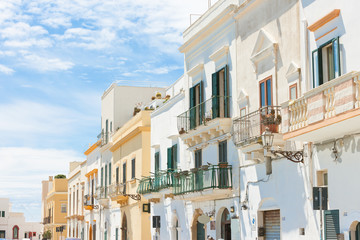 Gallipoli, Apulia - Middle aged facades with balconies in a wonderful alleyway