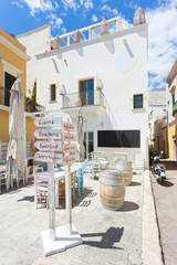 Gallipoli, Apulia - Tiny liettle restaurant with colorful interior