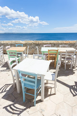 Gallipoli, Apulia - Out for lunch in the sun at the middle aged promenade