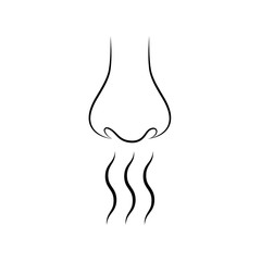 Nose and smell sense flat vector on white background.