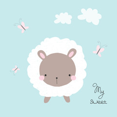 Cute white sheep with butterfly. Kids graphic. Vector hand drawn illustration.