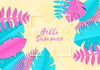 Summer Tropical palm leaves, plants in trandy paper cut style. White square frame on exotic blue pink leaves on yellow sunny background Hawaiian summer. Corners of a square lable. Vector illustration.