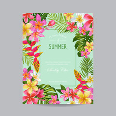 Blooming Summer Floral Frame, Poster, Banner. Tropical Flowers Card for Invitation, Greetings, Wedding, Baby Shower. Vector illustration