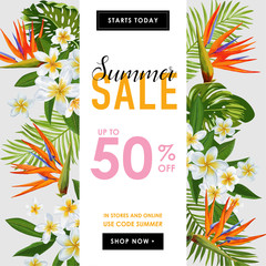 Summer Sale Tropical Banner. Seasonal Promotion with Exotic Flowers and Palm Leaves. Floral Discount Template Design for Poster, Flyer, Gift Certificate. Vector illustration