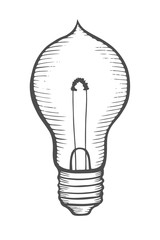 Glowing light incandescent bulb