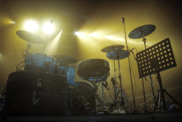 drums stand on the stage