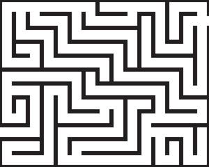 Black rectangle maze isolated on white background