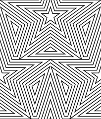 Abstract vector seamless op art star pattern. Line art, graphic ornament. Optical illusion.
