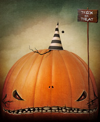 Holiday concept greeting card or poster for Halloween with Gloomy Huge Pumpkin