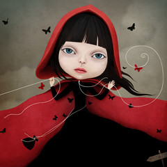 Conceptual illustration with a fairy tale character little Red riding hood