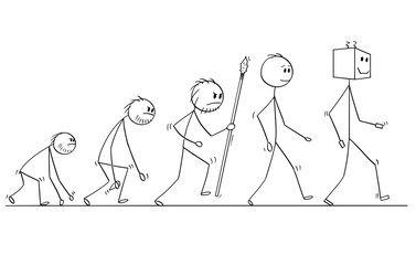 Cartoon stick man drawing conceptual illustration of human evolution process progress. Modern human successor is artificial intelligence robot or ai.