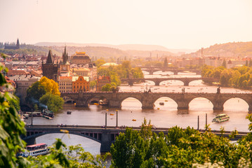 Bridges of Prague over Vltava River on sunny summer day. Scenic view from Letna. Prague, Czech Republic.
