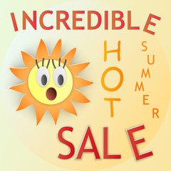 "Vector illustration, surprised orange sun with eyes in paper cut style, banner with text ""Incredible hot summer sale"" in yellow bright warm colors"