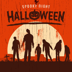 Halloween poster, Silhouette of zombies walking at graveyard, Vector Illustration