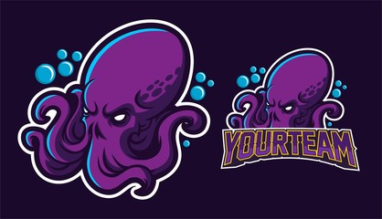 kraken/squid/octopus esport gaming mascot logo template