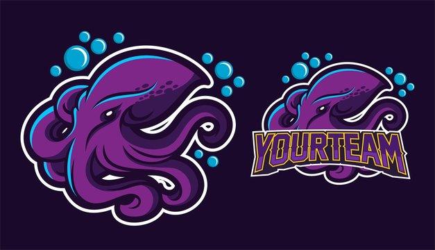 kraken/squid/octopus esport gaming mascot logo template