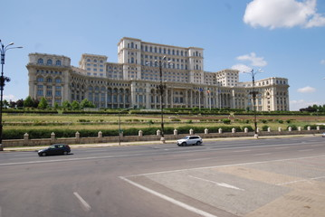 Palace of the Parliament; Romania; landmark; palace; building; car