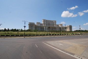 Romania; Palace of the Parliament; sky; landmark; infrastructure; road