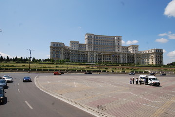 Romania; Palace of the Parliament; sky; landmark; car; metropolitan area