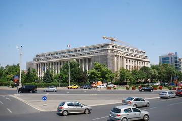 Bucharest; car; metropolitan area; landmark; sky