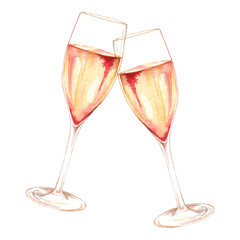 Watercolor two glasses of champagne wine alcohol isolated art illustration