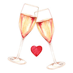 Watercolor two glasses of champagne wine alcohol heart love romantic isolated art illustration