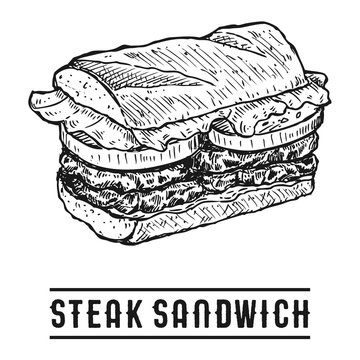 Hand Drawn Steak Sandwich, Vector Illustration