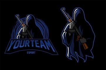 grim reaper holding riffle esport gaming mascot logo template