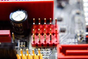 Electronic board with electrical components. Electronics of computer equipment